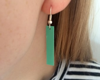 Turquoise rectangle dangle earrings // turquoise green blue // wire ear hooks // dainty minimal simple design