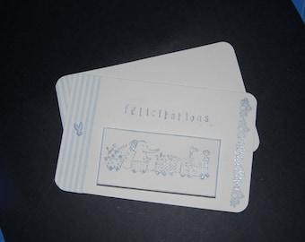 carte félicitations bébé garçon+enveloppe