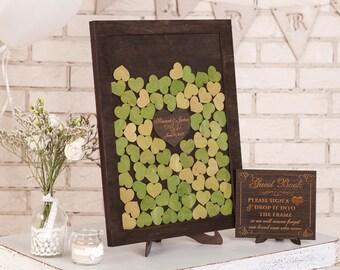 3d Wedding guestbook Alternative Drop box Wedding guest book Custom Drop Top Guest Book Wedding Wishes Box Guestbook Frame Wood Hearts Green