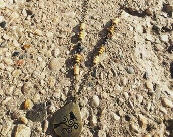 Bronze Bird Lava Bead Aromatherapy Diffusing Necklace