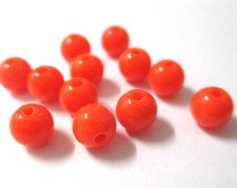 10 6mm orange acrylic beads