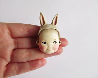 Kewpie Bunny Doll Brooch Pin Cream