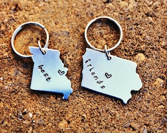 BEST FRIEND Gift -Keychains Set of Two - Choose your State and Heart Locations