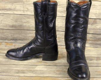 Laredo Cowboy Boots Black Leather Mens Size 8.5 D Vintage Western Rockabilly