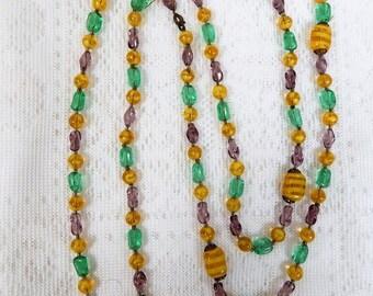 Vintage Czech Glass Bead Necklace  Deco Flapper Style  Opera Length