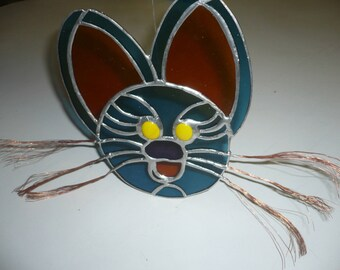 stained glass stylized Cat Head