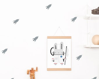 Wall decals / wall stickers 32 rockets silver