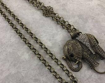 Sparkly Crystal Elephant Lanyard, Bronze Chain Lanyard, ID Badge Holder, ID Lanyard, Badge Lanyard, Lanyard ID Holder - Breakaway optional