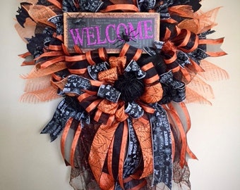 Halloween Wreath, Halloween Welcome Wreath, Halloween Wreaths, Scary Door Decor, Halloween Deco Mesh Wreath, Halloween Decorations
