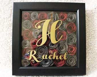 Personalized Shadow Box with Name and Flowers