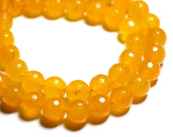10pc - beads - faceted balls 10mm Orange yellow Jade - stone 4558550089731