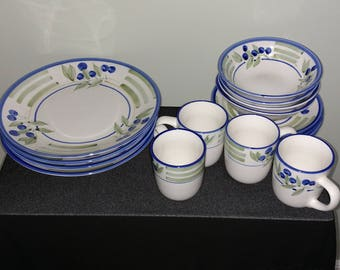 Hand painted Stoneware 4 Place Setting