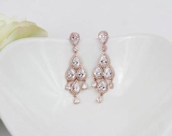 Rose Gold Wedding Earrings | Long Earrings | Bridal Earrings | Rose Gold Chandelier Earrings | Wedding Jewelry | Teardrop Earrings