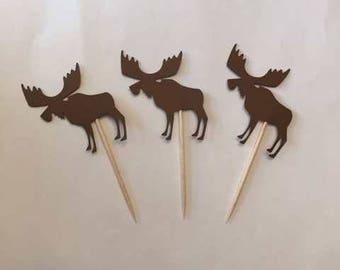 24 Assorted Moose Toothpicks, woodland Cupcake Toppers, woodland Baby Shower, Woodland Theme, Appetizer Picks, Woodland birthday