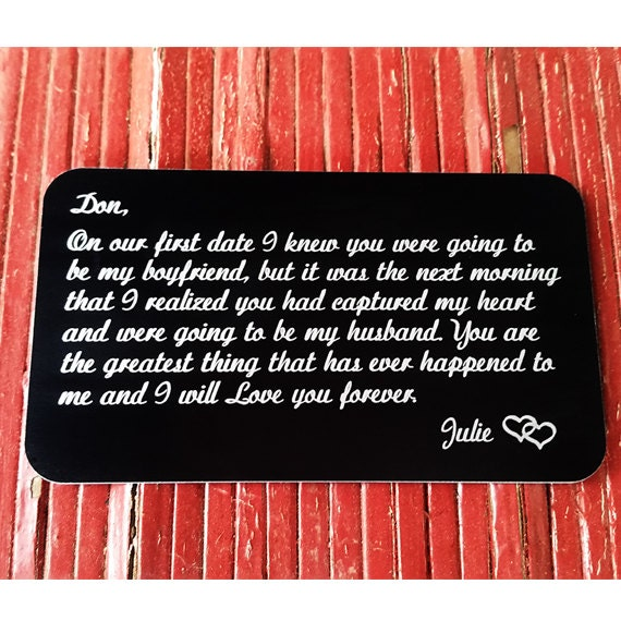 Um, just a little reminder in his wallet with this metal insert that you love him. That's all.
