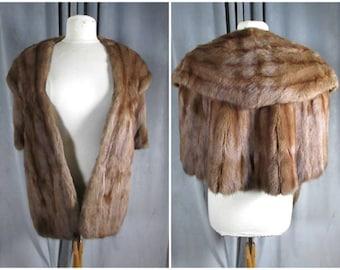 Vintage 1950s Fur Stole. Bullocks Santa Ana Mink Cape Stole. Lined Quality Madmen Fur Wrap with Cape Back. Pockets. Wow!