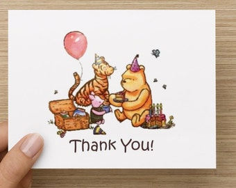 INSTANT DOWNLOAD: Classic Winnie The Pooh Printable Thank You Cards