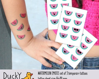 Set of 3 temporary tattoos Watermelon emojis. 24 tiny temp tatts to express yourself. Emojis party favors and watermelon fruit party supply.