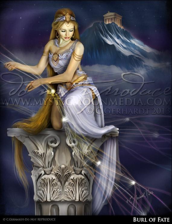 Burl Of Fate Fantasy Art Print Greek Goddess Woman Tying