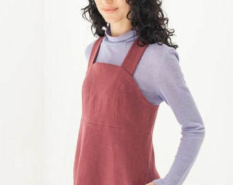 Burgundy pinafore dress - Jumper dress - Womens hemp clothing