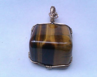 Large pyramid shaped Tiger eye pendant