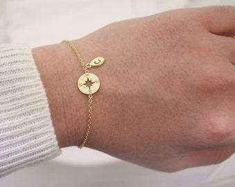 Personalized Compass Bracelet, Inspirational bracelet, sterling silver compass Bracelet,Personalized bracelet,best friend bracelet