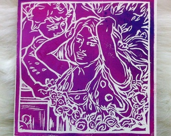 Flora and the Zephyrs Linocut Hand Printed on Recycled Card