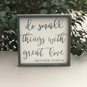 do small things with great love 1'x1' framed farmhouse decor wood sign