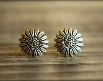 Smooth Sunflower Stud Earrings, Available in Aged Brass, Antiqued Silver, Matte Silver, and Rose Gold Antique Bronze Flower Earring Studs