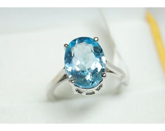 Natural Blue topaz Ring 925 Sterling Silver Faceted Oval Handmade fine jewelry