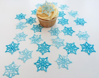28 Edible Snow Queen Medium Wafer Snowflake Cupcake Toppers