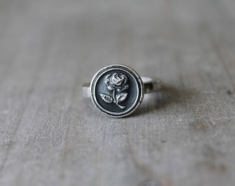 Rose wax seal fine silver ring
