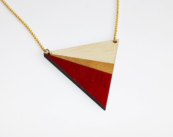 triangle geometric wooden necklace, red, gold, natural wood, minimalist modern necklace, scandinavian necklace, gift for woman, colorful