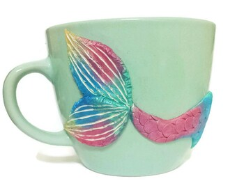 Mermaid Valentines Mug, Mermaid Mug, Turquoise Mug, Mermaid Decor, Girlfriend Gift, Wife Gift, Mermaid Coffee Mug, Rainbow Mug, Mermaid Gift