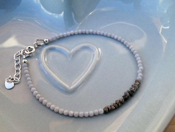 Raw Diamond, Blue Lace Agate & Silver Bracelet, Sterling Silver