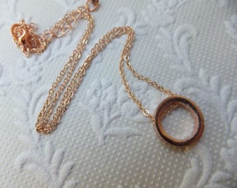 Rose Gold Plated Circle Charm Necklace