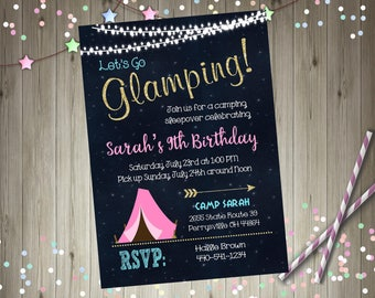 Glamping invitation glamping birthday invitation camping sleepover birthday Party invitation Printable