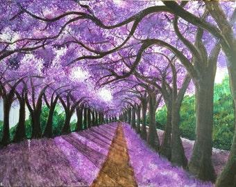 Tree Art, Tree Painting, Lavender Trees, Forest Art, Tree Decor, Acrylic Painting, PRINT