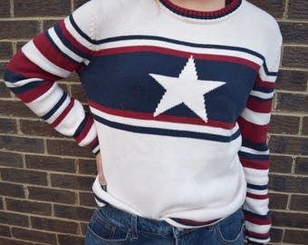 Vintage red white and blue Duckhead sweater