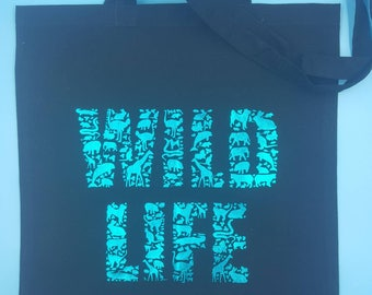 Wild life tote bag, animals tote bag