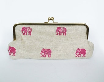 Clutch bag, elephant fabric, pink and beige elephant design, evening purse