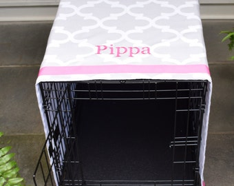 Personalized Crate Cover | French Grey Quatrefoil with Pet Name | Dog Kennel Cover with Monogram | Best Puppy Gift by Three Spoiled Dogs