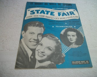 1945 Old SHEET Music Rogers & Hammersteins STATE FAIR, w Movies Stars, It Might As Well Be Spring