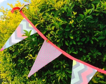Neon bold modern bunting, reversible for nursery and more.
