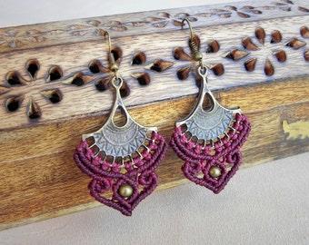 Bohemian Macrame Earrings 'ARAVINDAM'. Antique Brass Rustic Boho Ethnic Tribal Elven Earrings. Delicate Fairy Earrings. Gift for Her.