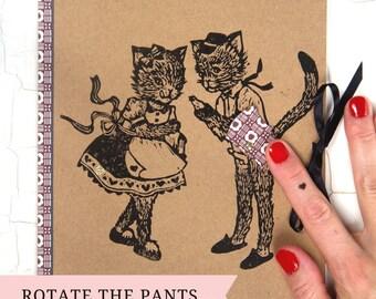 CAHIER marrant & coquin / Couple Chat et oiseau/ idée cadeau décalé/ linogravure originale/ cadeau pour ami/ customizé/ cahier de note