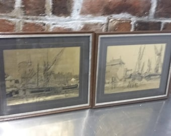 Pair of Glazed Wooden Frames Gold Engravings of Boats at Port