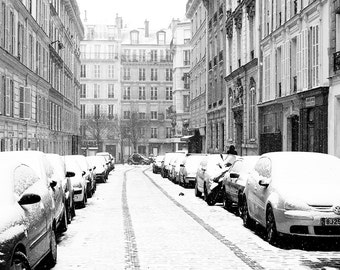 Paris Photography, Snowy morning in the Marais, winter photography, Paris in the snow, black and white art, Winter in Paris, Francophile Art
