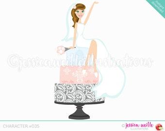 Daydream Brunette Bridal Character Illustration, Bride Sitting on Wedding Cake, Damask, Weddings, Pink Wedding Cake, Cartoon Bride #C035