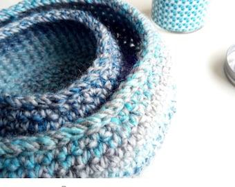 Basket Set Easy Crochet Pattern PDF Small Storage Baskets Home Decor Modern Style Interior Organizer Bags Bowls
